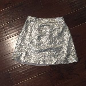 Silver Mini Sequin Skirt